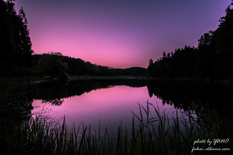 奈良・龍王ヶ淵の水鏡 早朝1