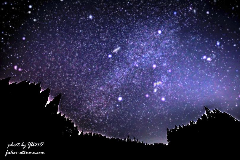 冬の星空・星景写真・オリオン座・冬の大三角形・レタッチ