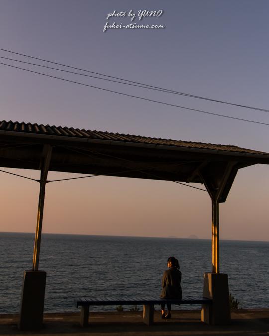 愛媛・下灘駅・夕景・海・風景