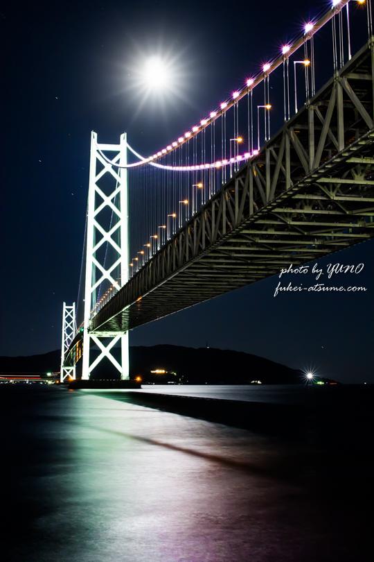 明石海峡大橋・夜景・月明かり
