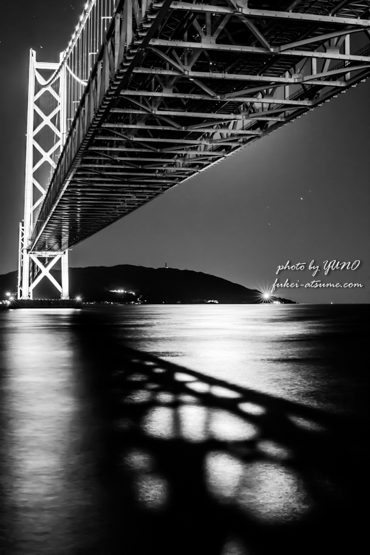 明石海峡大橋・夜景・月明かり・光と影