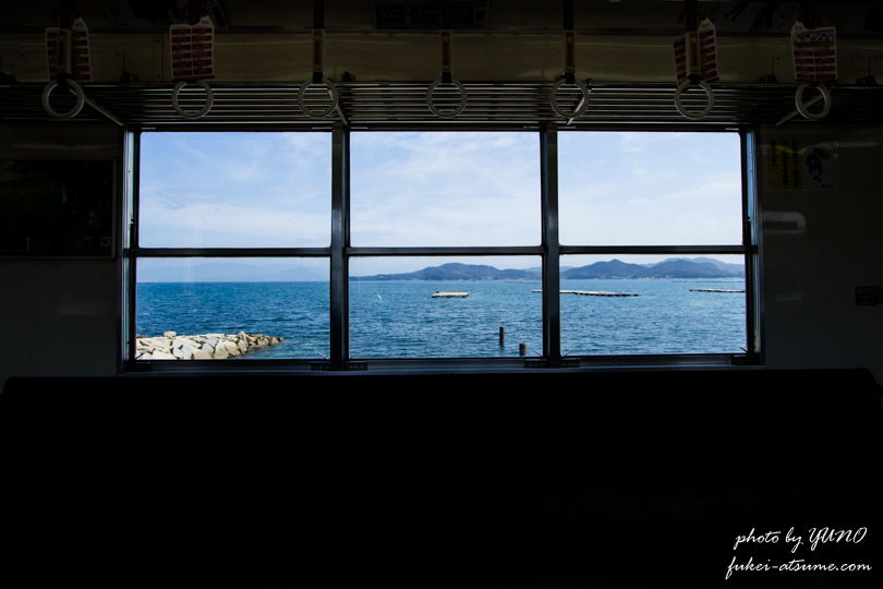 香川県・高松琴平電鉄志度線・房前~原・海・車窓・風景撮影
