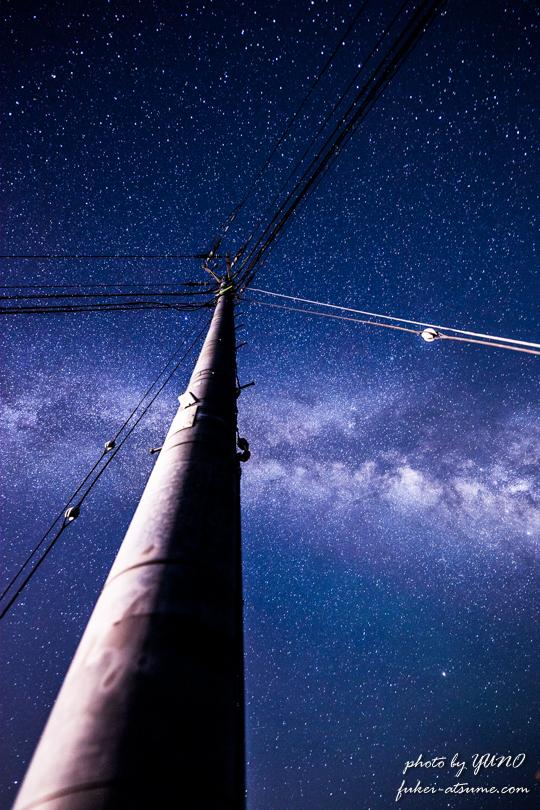 奈良・御杖村・天の川・星空・星景・電柱2