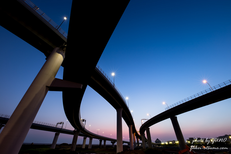 大阪・りんくうジャンクション・JCT・夜景・夜明け・日の出・早朝・一眼レフ撮影1