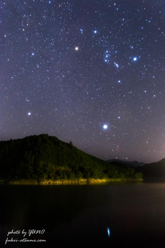 オリオン座・冬の大三角形・星空・星景・CanonEOS6D1
