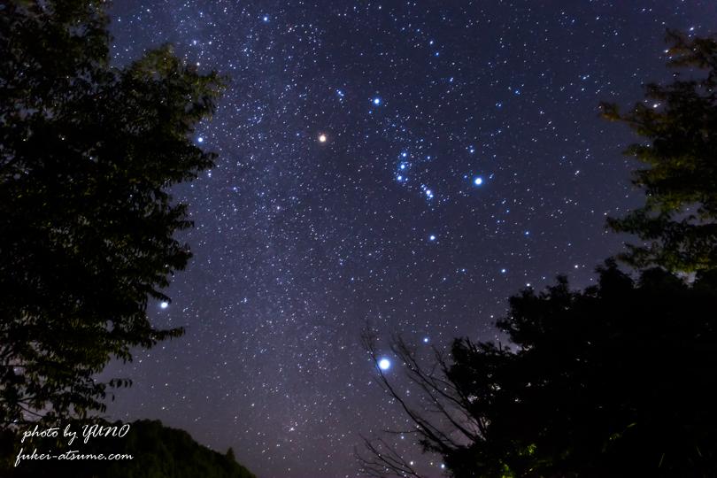オリオン座・冬の大三角形・星空・星景・CanonEOS6D3