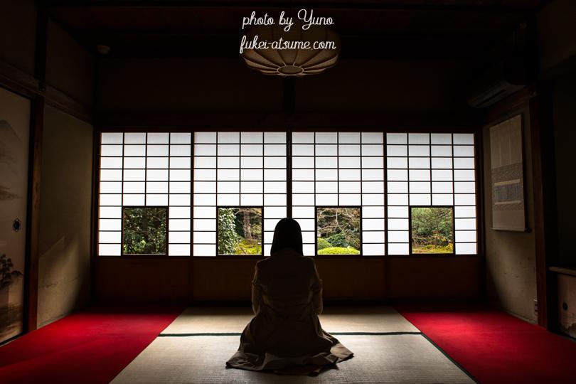 京都・雲龍院・静寂・蓮華の間・四つの窓・四景・人物・ポートレート