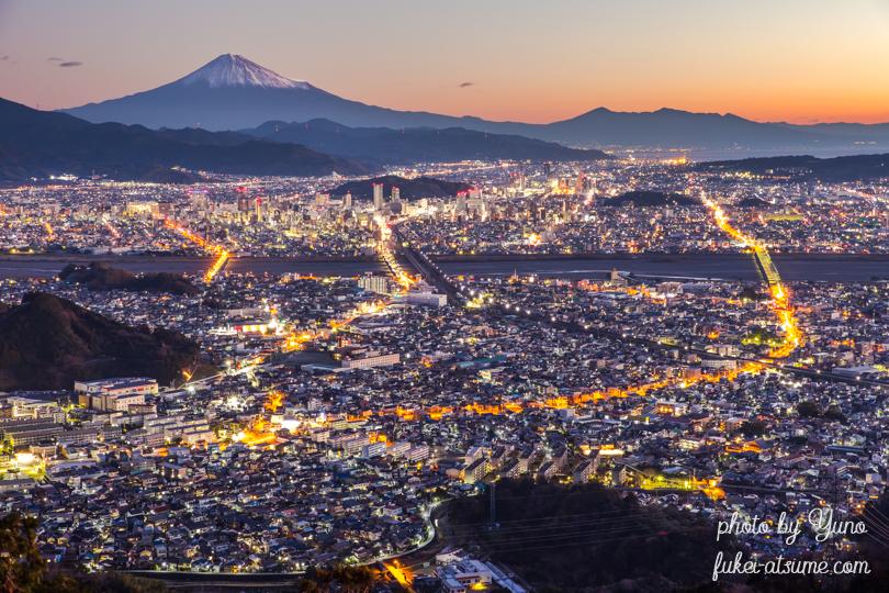 静岡県・富士山・夜景・トワイライト・夜明け・マジックアワー・黎明・絶景