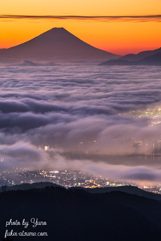 長野・高ボッチ高原・雲海・富士山・夜明け・日の出・朝陽・夜景・諏訪湖・朝焼け・霧1