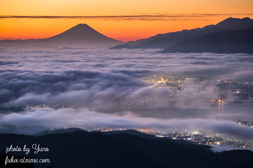 長野・高ボッチ高原・雲海・富士山・夜明け・日の出・朝陽・夜景・諏訪湖・朝焼け・霧2