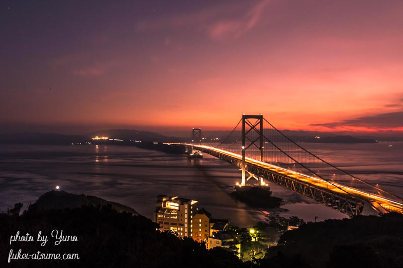 徳島・大鳴門橋・鳴門山展望台・鳴門海峡・朝焼け・夜明け・早朝・夜景