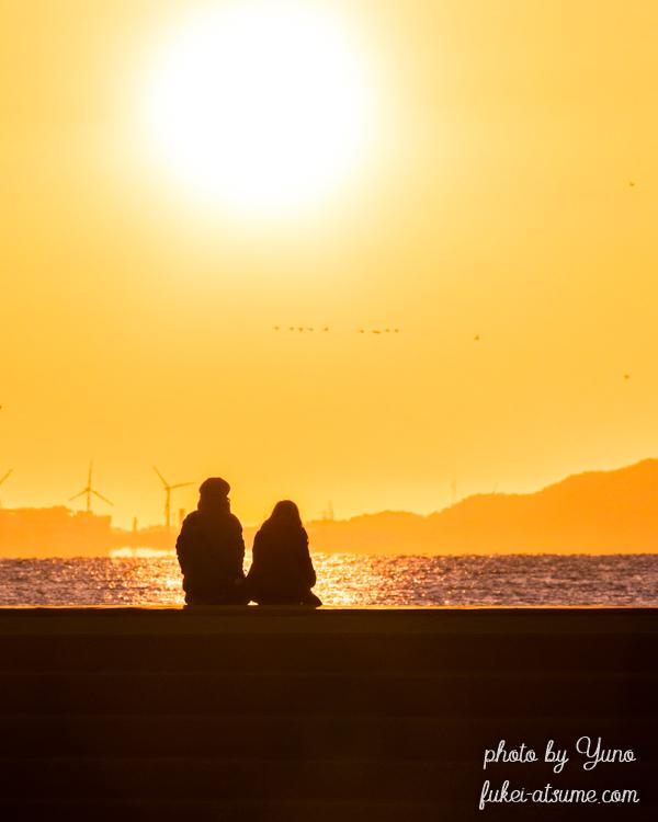 愛知県・恵比寿海水浴場・初日の出・朝陽・シルエット5