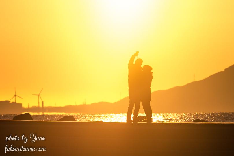 愛知県・恵比寿海水浴場・初日の出・朝陽・シルエット2