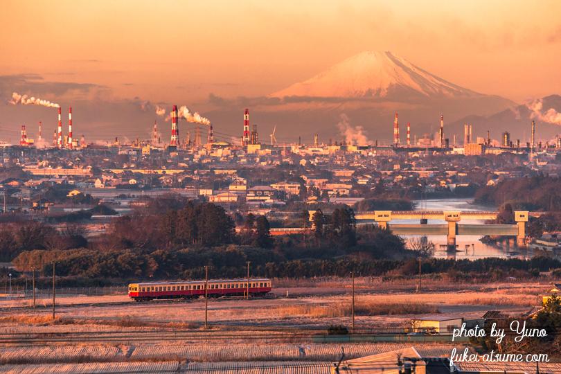 千葉県・京葉工業地帯・朝焼け・富士山・小湊鉄道・電車・列車1