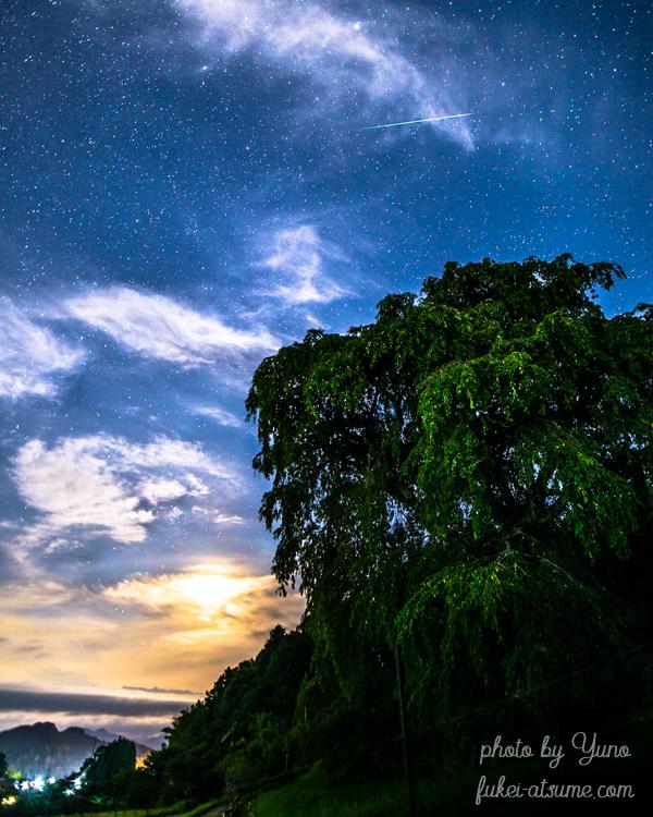 ペルセウス座流星群2020・奈良・又兵衛桜・下弦の月・流れ星・流星・星空・星景