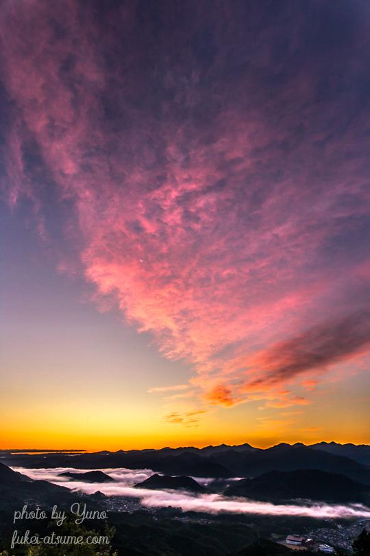 奈良・鳥見山・朝焼け・雲海・爆焼け・赤・夜明け